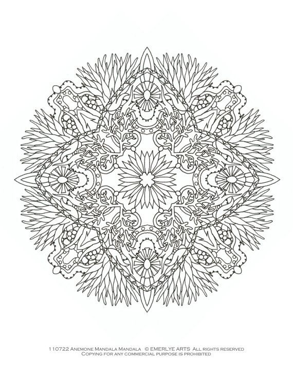 Printable Coloring Page - Anemone Mandala mandala Pinterest - copy extreme mandala coloring pages