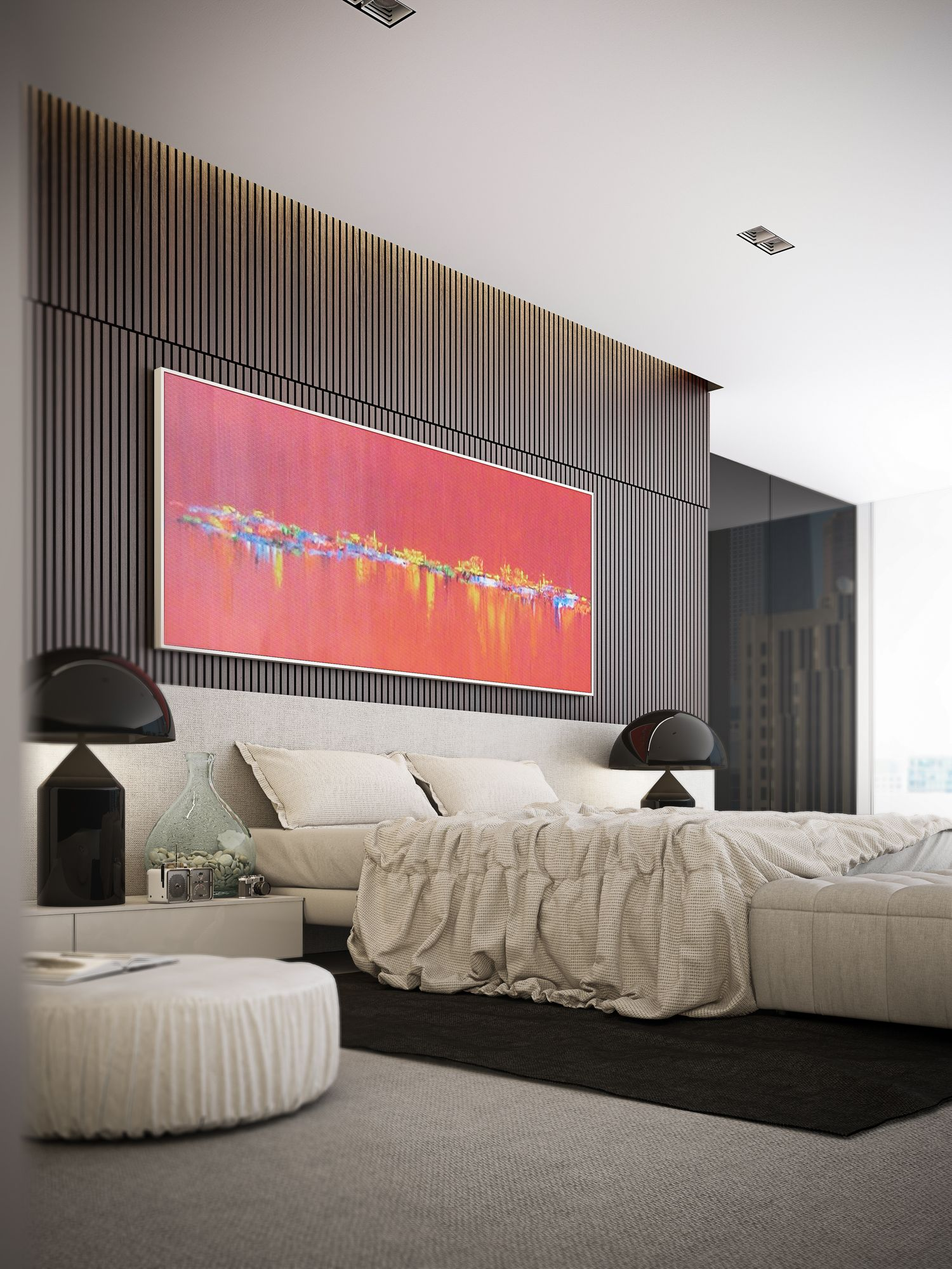 Master bedroom feature wall  Current Project  The Penthouse u eightytwo  wooden divider