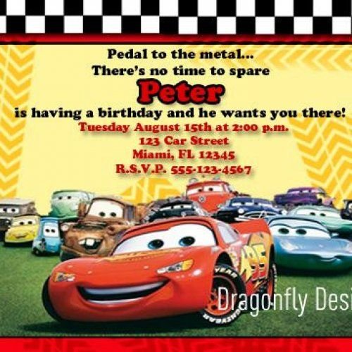 Cars Lightning McQueen Printable Birthday Invitations DIGITAL FILE