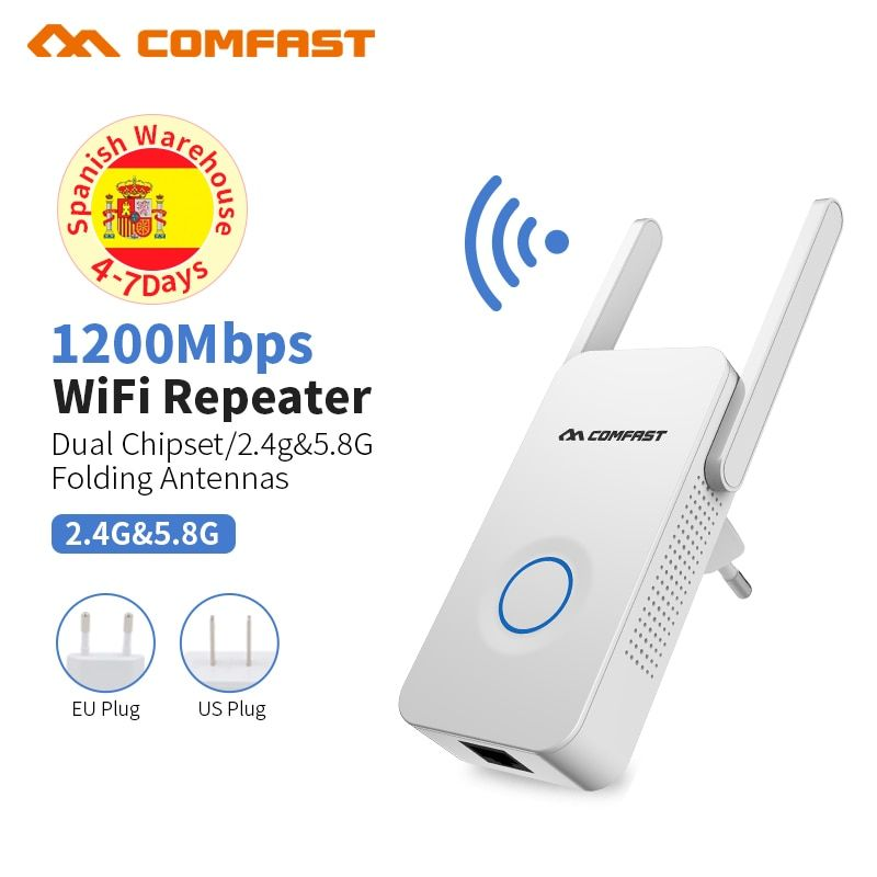 1200Mbps 2.4GHz//5GHz Dual Band WiFi Router Wireless Extender Repeater 5-Antenna
