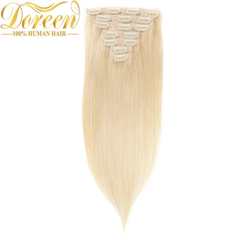 Doreen Full Head Set 120g Brazilian Remy Hair 60 White Blonde Clip