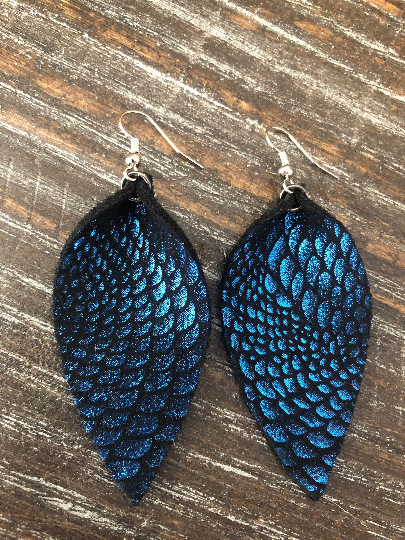 BlueGray Leather Petal Earrings