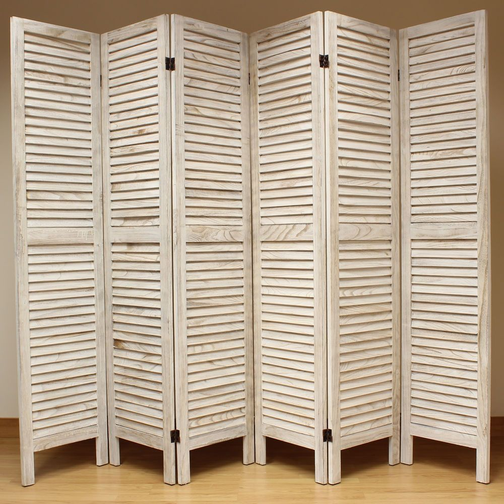 Room Seperator Cream 6 Panel Wooden Slat Room Divider Home Privacy Screen