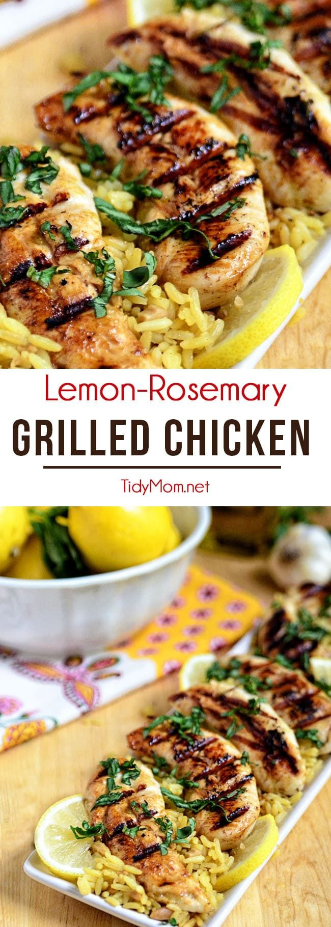 This Lemon Rosemary Grilled Chicken cooks up on the grill in under 10 minutes! Marinade ahead of ti