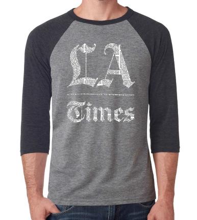 Los Angeles Times - 3/4 Sleeve Raglan Tee - Grey and Charcoal