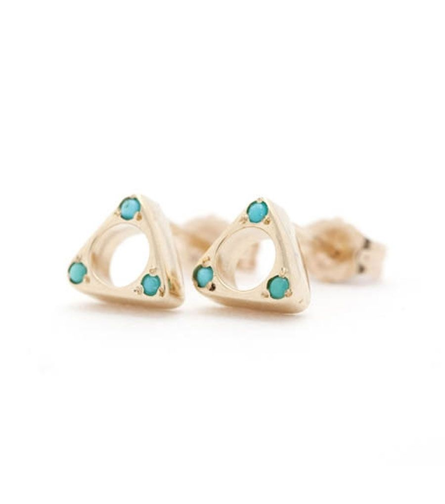 catbird :: WHAT'S NEW: jewelry :: Tulum Triangle Earrings, Gold w/Turquoise