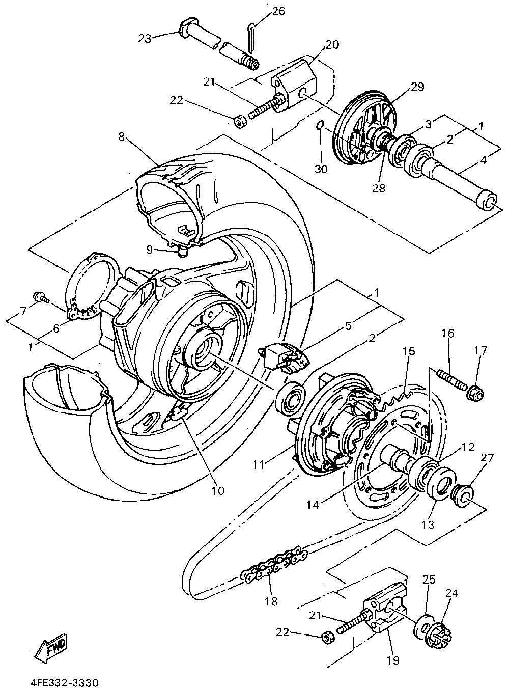 Yamaha gts 1000 1994 rear wheel
