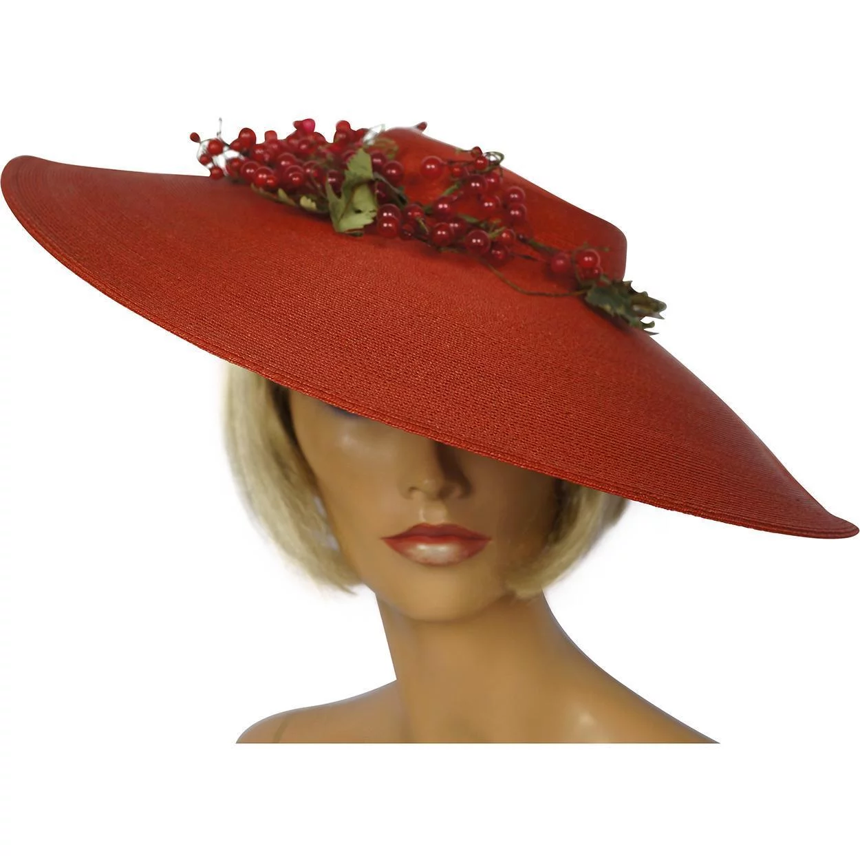Vintage 1930s Garden Party Hat Red Straw Wide Brim Ladies Size M Found At Www Rubylane Com Vintagebeginshere Vintage Red Ga Hats Hats Vintage Pretty Hats