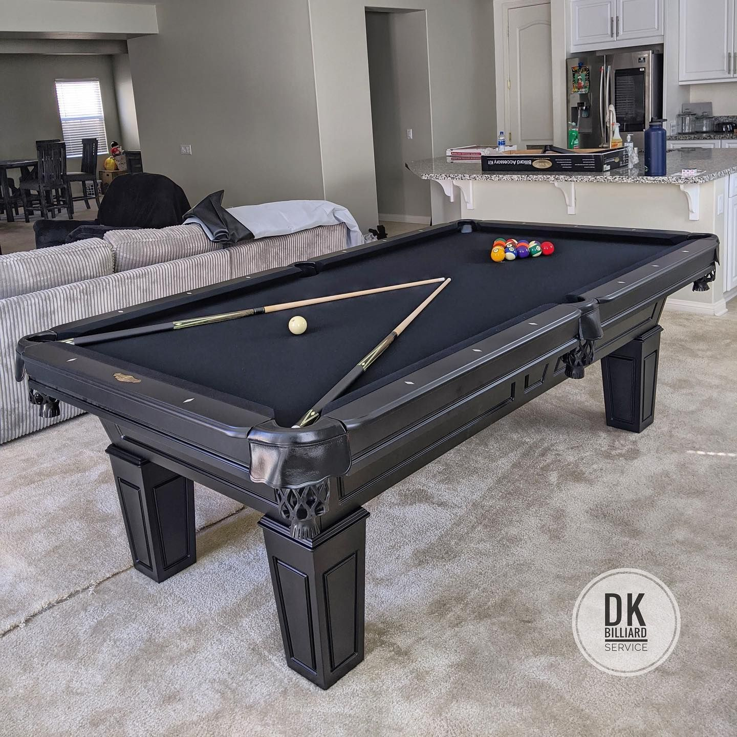 8 Foot Cl Bailey Duke In Black With Black Felt And Black Leather Pockets In Murrieta Clbailey Rassonbilliards Perfectfit B In 2020 Play Pool Game Room Pool Table