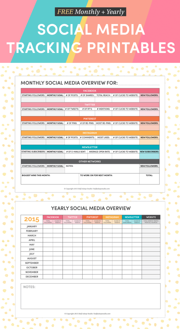 Free Monthly And Yearly Social Media Tracking Printables  Half
