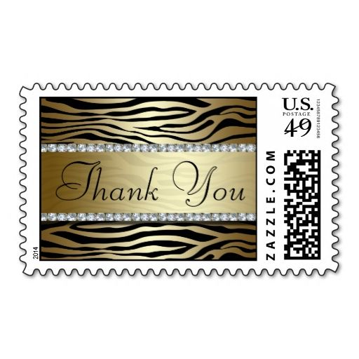 Gold Zebra Print Thank You Postage Stamp Zazzle Com