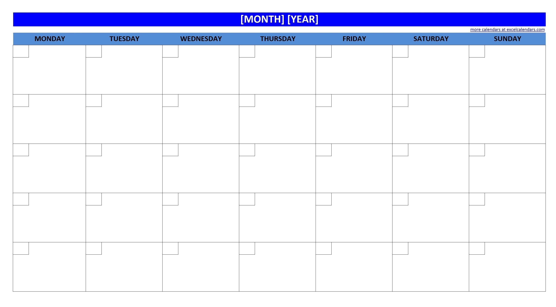 Blank Calendar Worksheet
