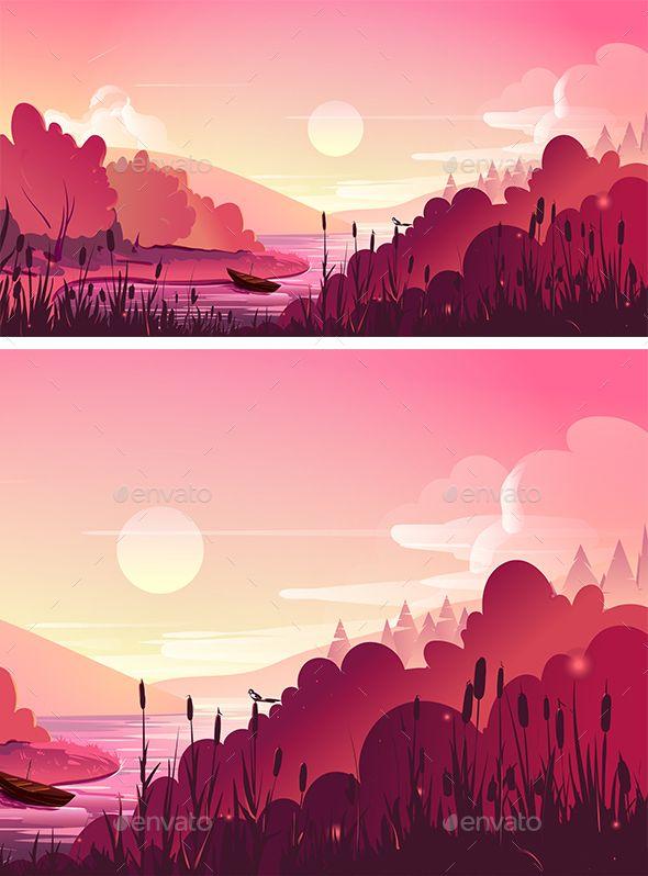 Landscape Nature Vector Background Nature Vector Nature Illustration Landscape Illustration