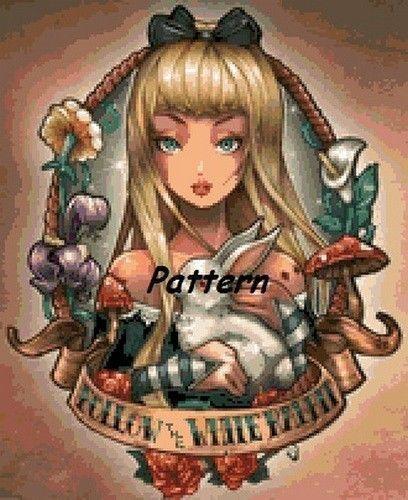 Alice In Wonderland 8 Cross Stitch Pattern Paper Version Or Pdf