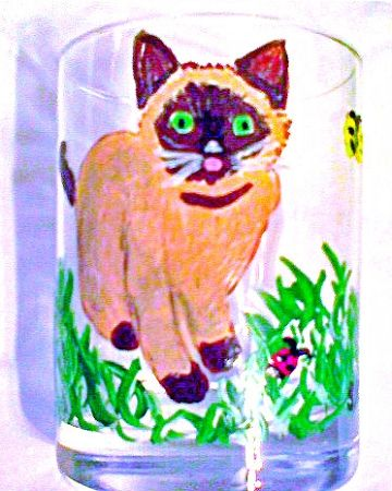 Hand painted Siamese Cat Wine Glasses http://www.clearlysusan.com/-Hand-painted-Siamese-Cat-Drinking-Glasses_p_112.html $28.00