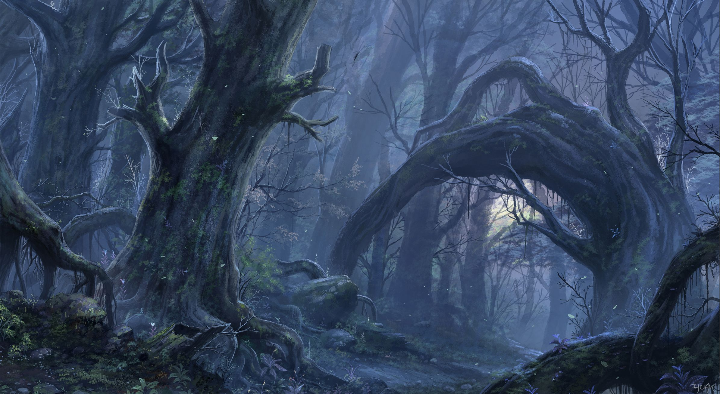Fantasy Woods Fantasy Forest Wallpaper Background 2390 X 1310 Id 220544 Fantasy Forest Forest Wallpaper Forest Art