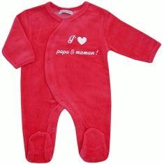 48c87bd63a256 Pyjama bébé fille en velours corail J aime Papa et Maman