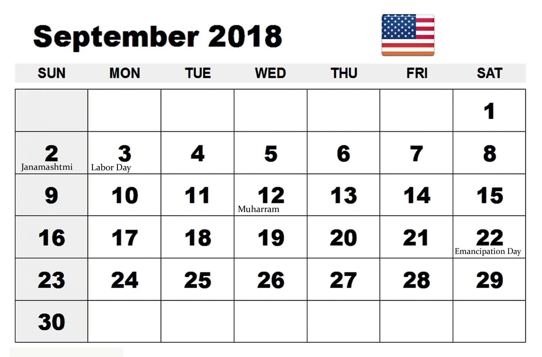 september 2018 calendar with holidays usa