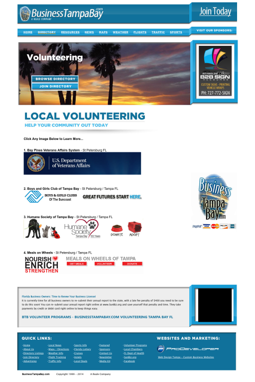 Http Www Businesstampabay Com Tampa Volunteer Programs Is Your Place To Find Great Volunteer Programs In The Tam Tampa Florida Volunteer Programs Florida Usa