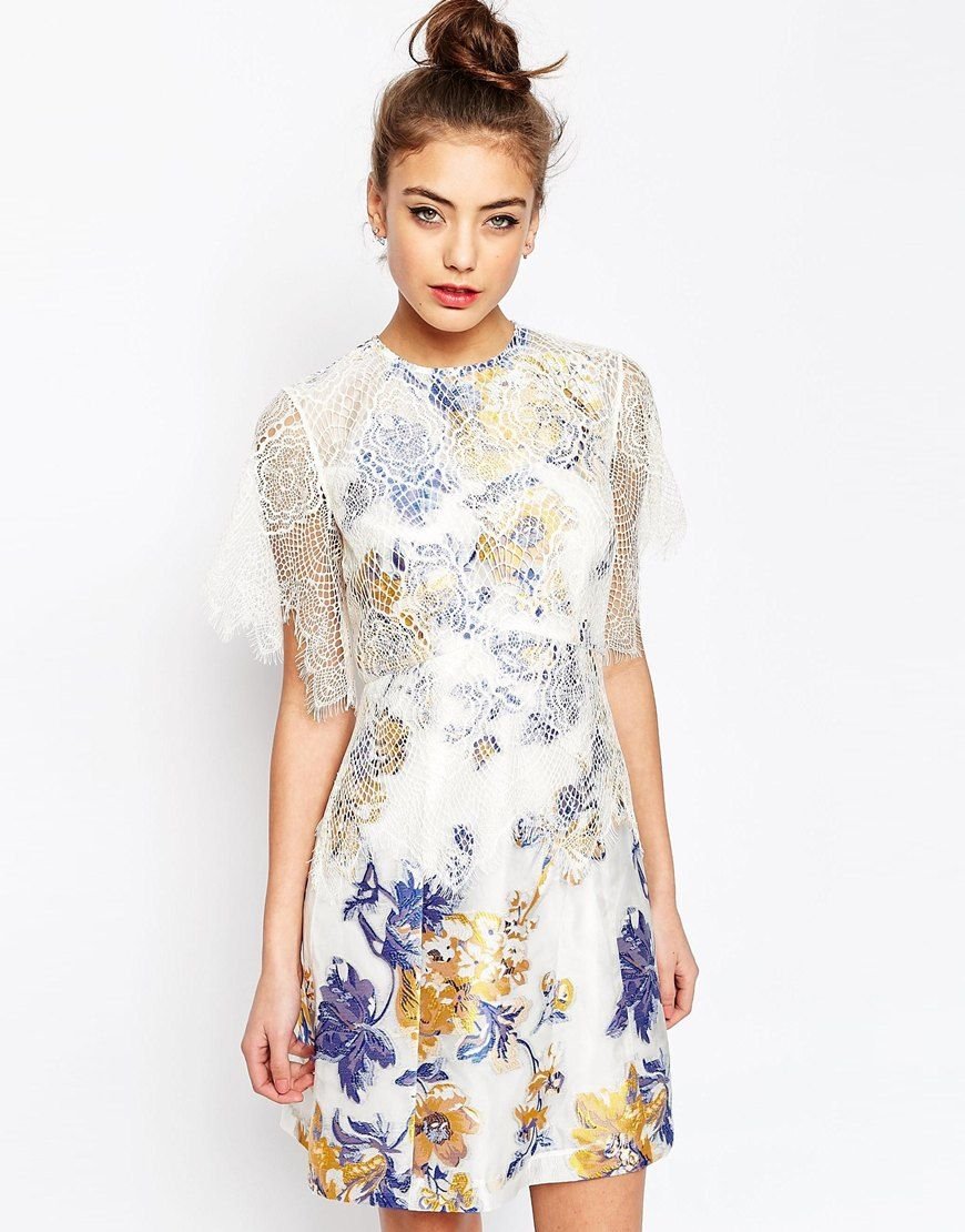 badbc17fe7eb ASOS+A-Line+Dress+with+Jacquard+and+Lace+Detail   Likes and Wants ...