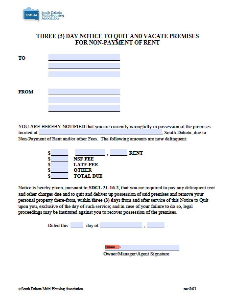 South Dakota 3 Day Notice To Quit Pdf Word Http Gtldworldcongress Com Simple Rental Agreement Form