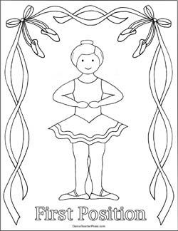 Ballet Coloring Sheet First Position Dance Coloring Pages Dance Crafts Ballet Positions