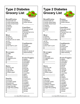 People With Type 2 Diabetes Can Use This Printable Grocery List To