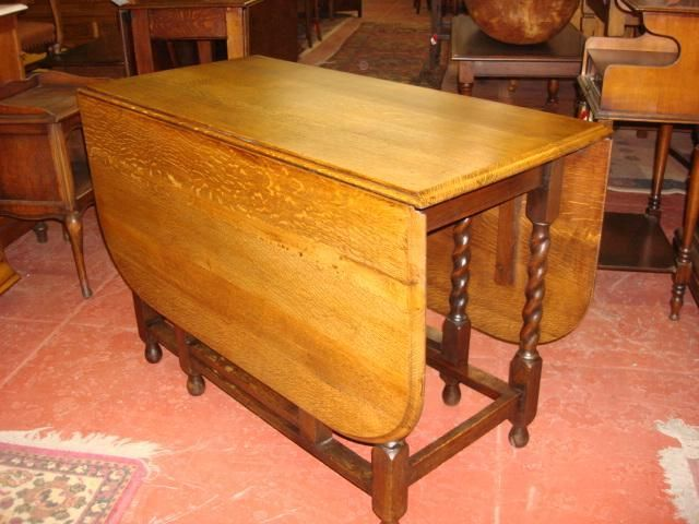 Beautiful English Antique Gate Leg Drop Leaf Table Barley Twist Table  Victorian Style Dining Card Table