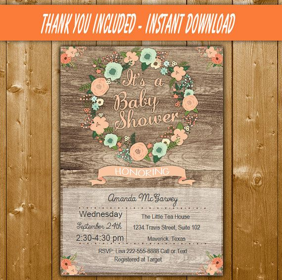 Floral Wreath Baby Shower Invitation, Peach and Mint Green Baby - download free baby shower invitations