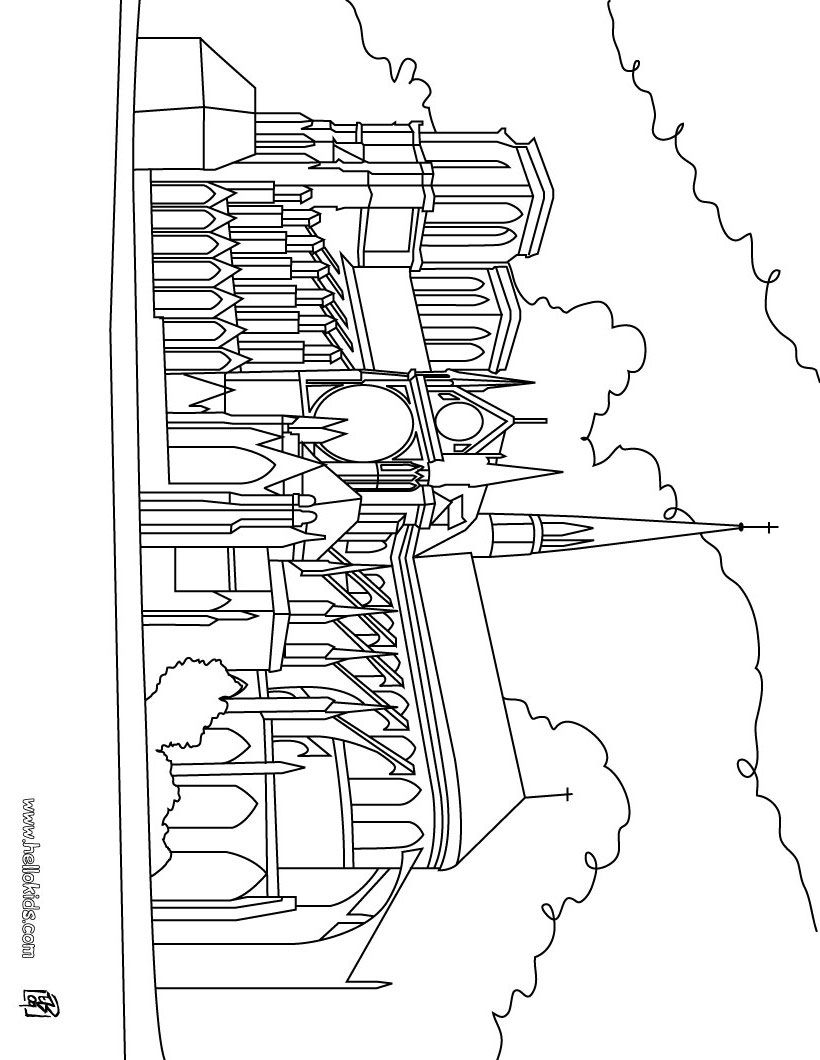 Print Page Cathedral Notre Dame Coloring Pages Football Coloring Pages Disney Coloring Pages