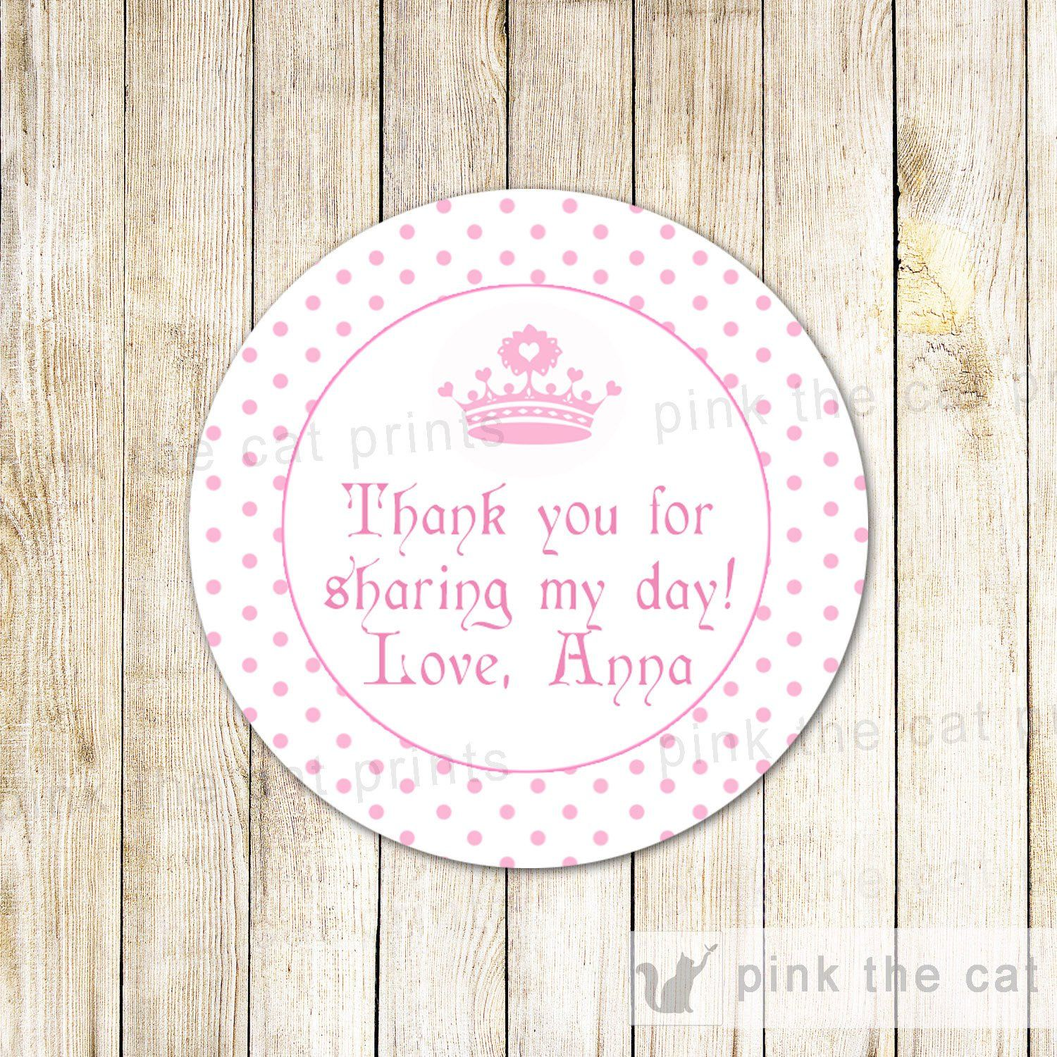 Princess Labels Sticker Gift Favor Tag Baby Girl Shower Birthday ...