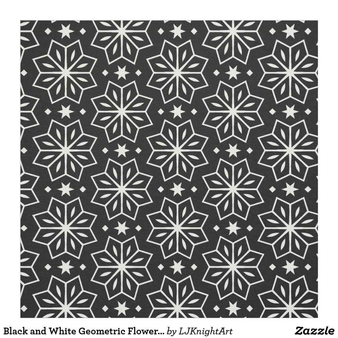 Black And White Geometric Flower Pattern Fabric Geometric Flower Fabric Patterns Printing On Fabric