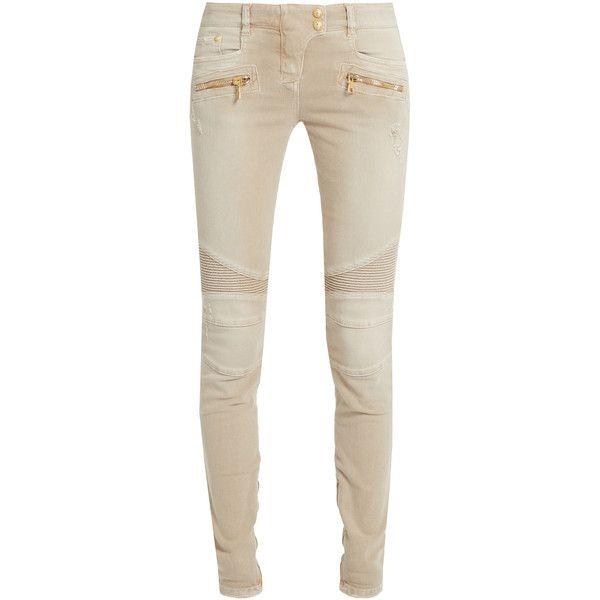White mid rise skinny jeans Balmain Hm0Jk