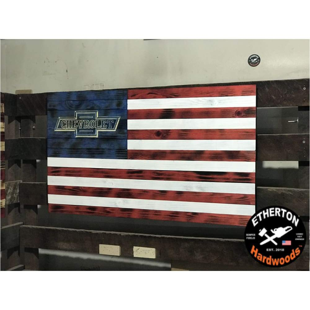 Charred Vivid Series Classic Version Wooden American Flag Chevy Bow Tie Wooden American Flag American Flag Wood Flag