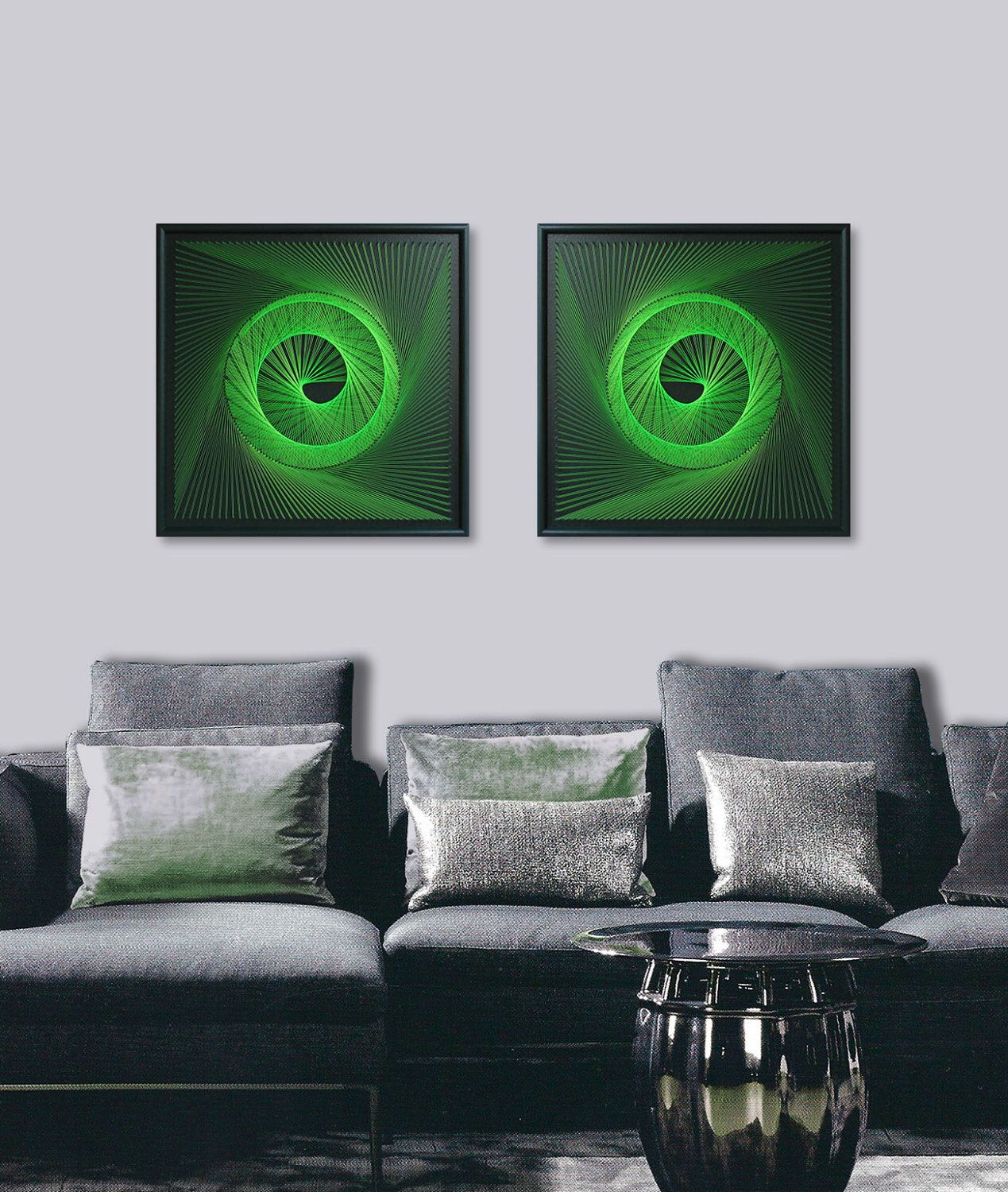 3D String Art Set In Apple Green   Abstract Zen Wall Art   UV Art Wall