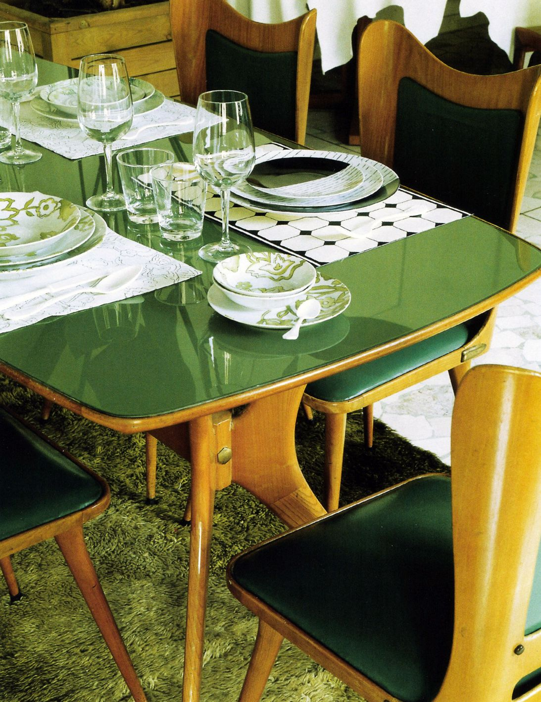 Vintage 60s Green Top Dining Table. I Wonder If A Green