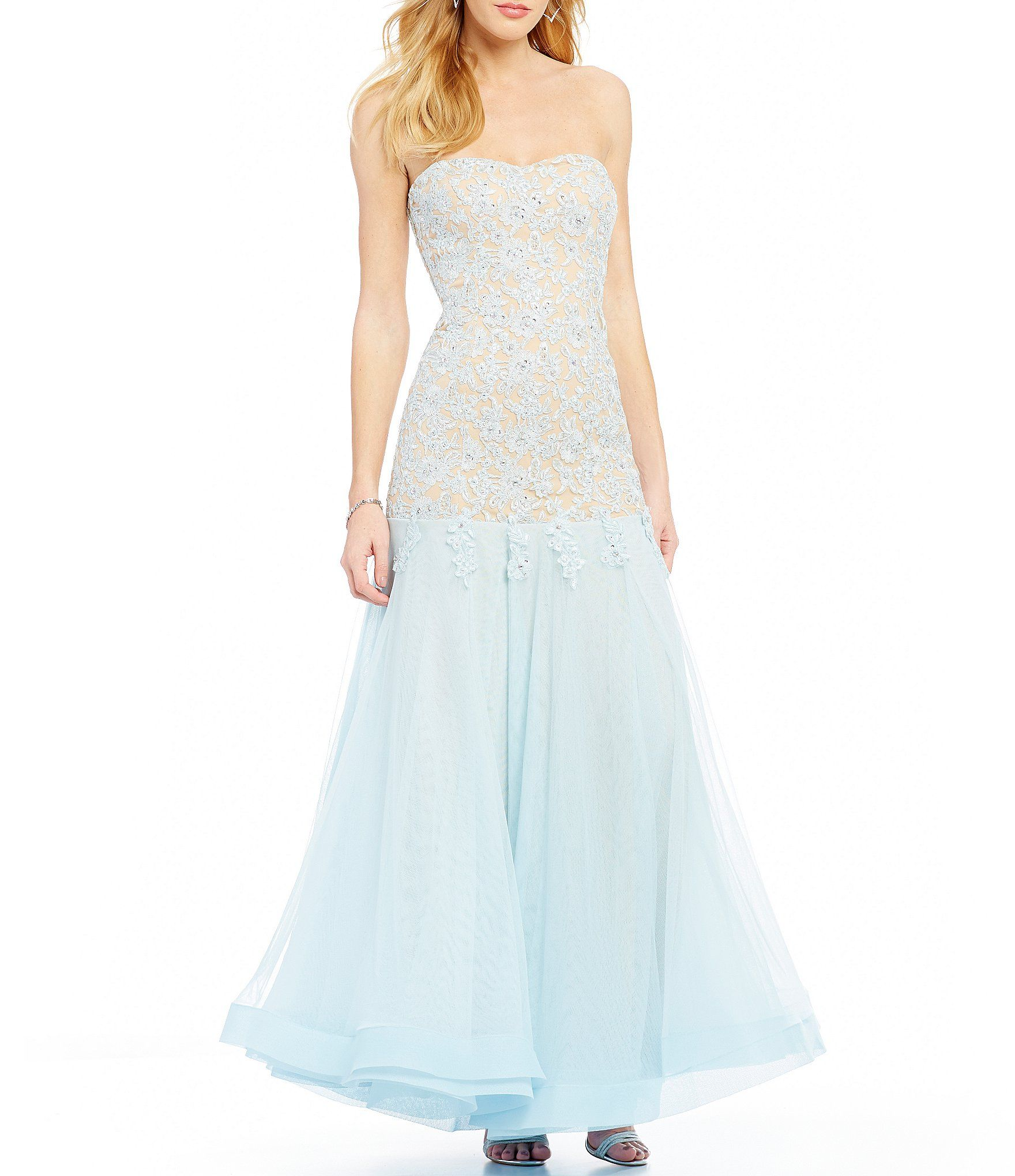 Jodi kristopher strapless applique long mermaid dress dillards