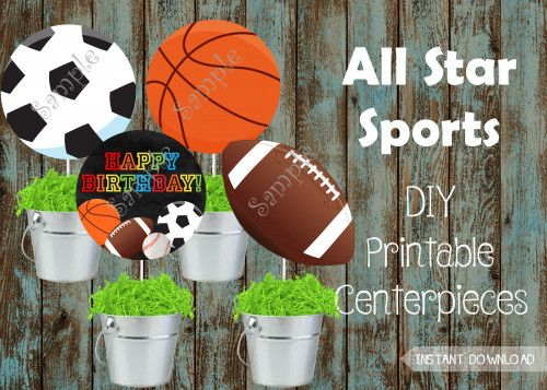 Sports Centerpieces Sports Party Decorations All Star Party Ideas Papelpintadodesigns Di Sports Party Decorations Sports Themed Party Sports Centerpieces