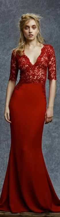 Reem Acra Pre-Fall 2015 | red embellished gown