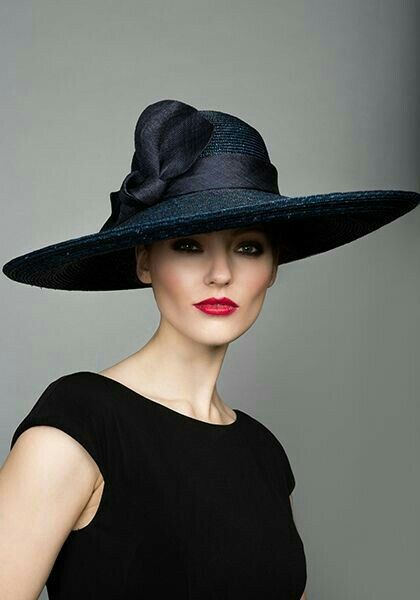 Rachel Trevor Morgan Millinery Navy Italian Braid Straw Hat With Twist