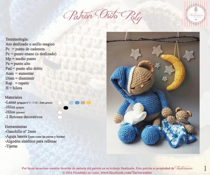 Patrón amigurumi de osito Poly | Amigurumi | Pinterest | Crochet ...