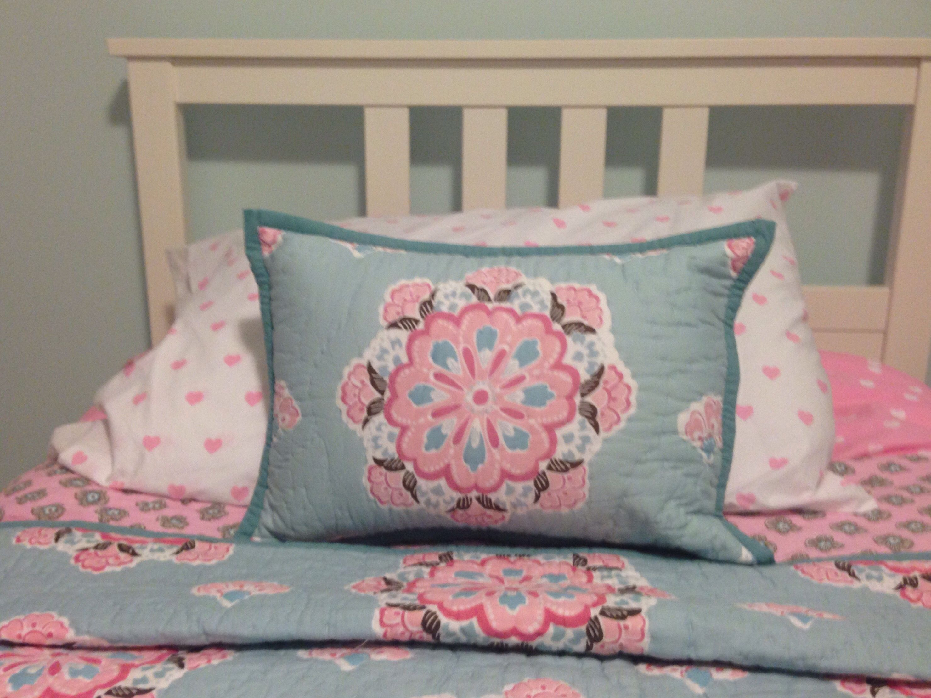 "Maddy s room Pottery Barn Kids ""Brooklyn"" bedding Light blue pink"