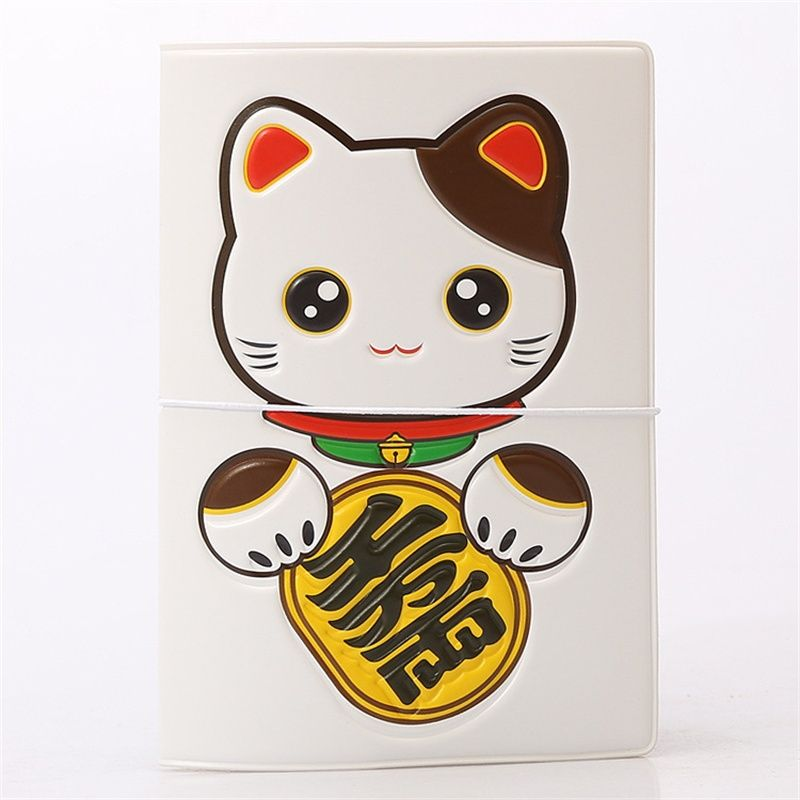 PVC Leather Cartoon Fortune cat ID Card Bag Credit Card Holder ...