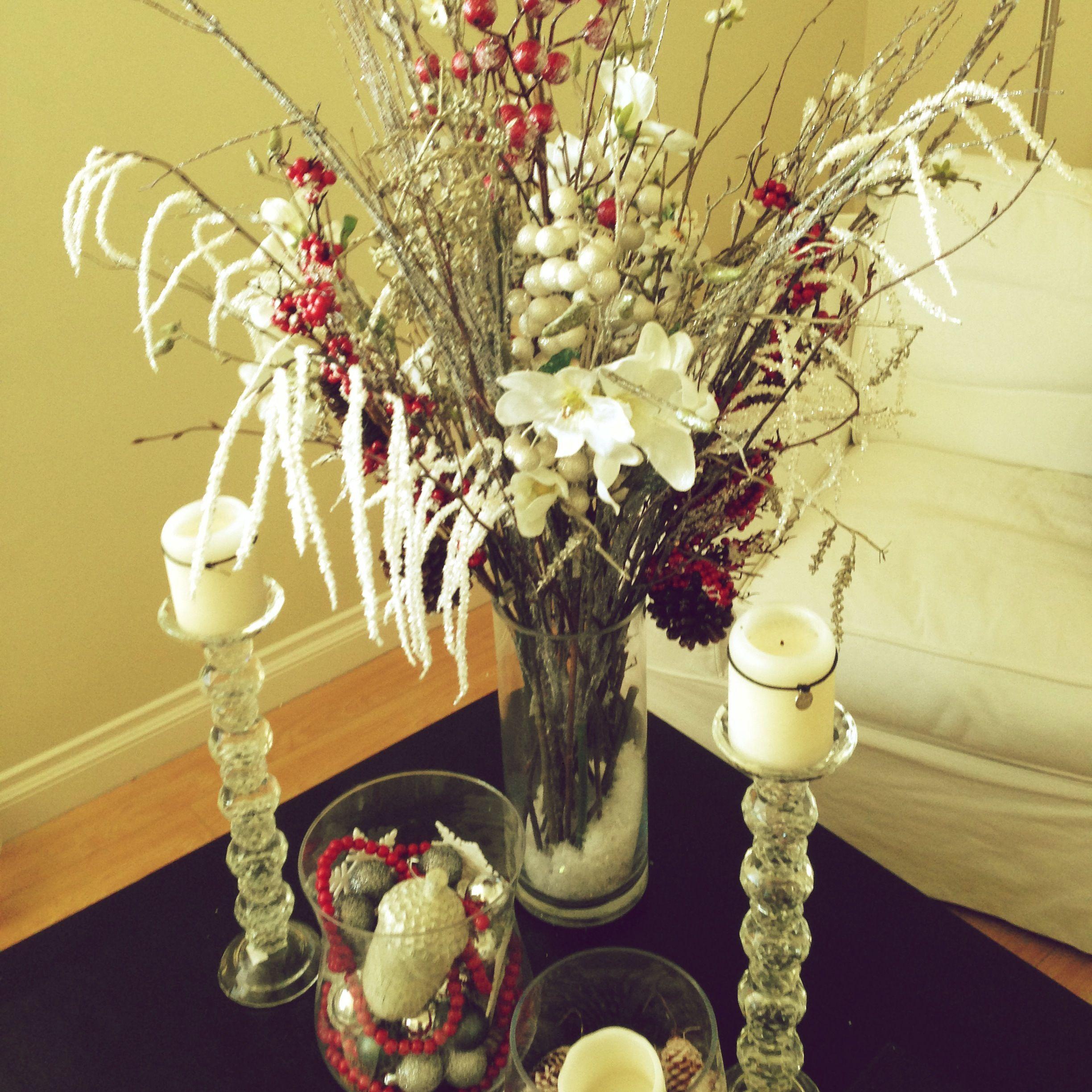 Christmas Winter Flower Arrangement Silk Flowers From Michaels