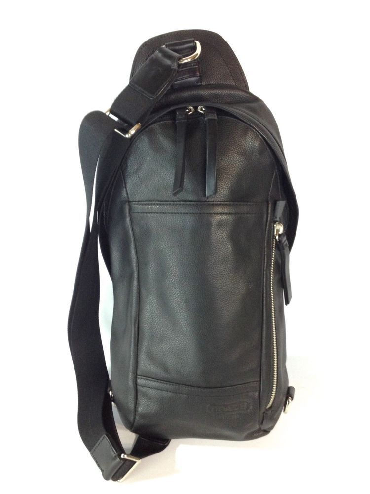 New Coach Mens Bag 70617 Thompson Convertible Sling Cross Body Black Leather   Coach  Backpack 81bfe7b15d9be