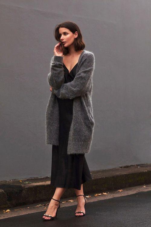 maxi slip dress and chunky cardigan