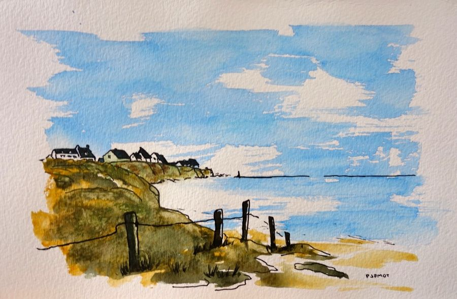 Aquarelle Bord De Mer Watercolor Seaside Acuarela Playa