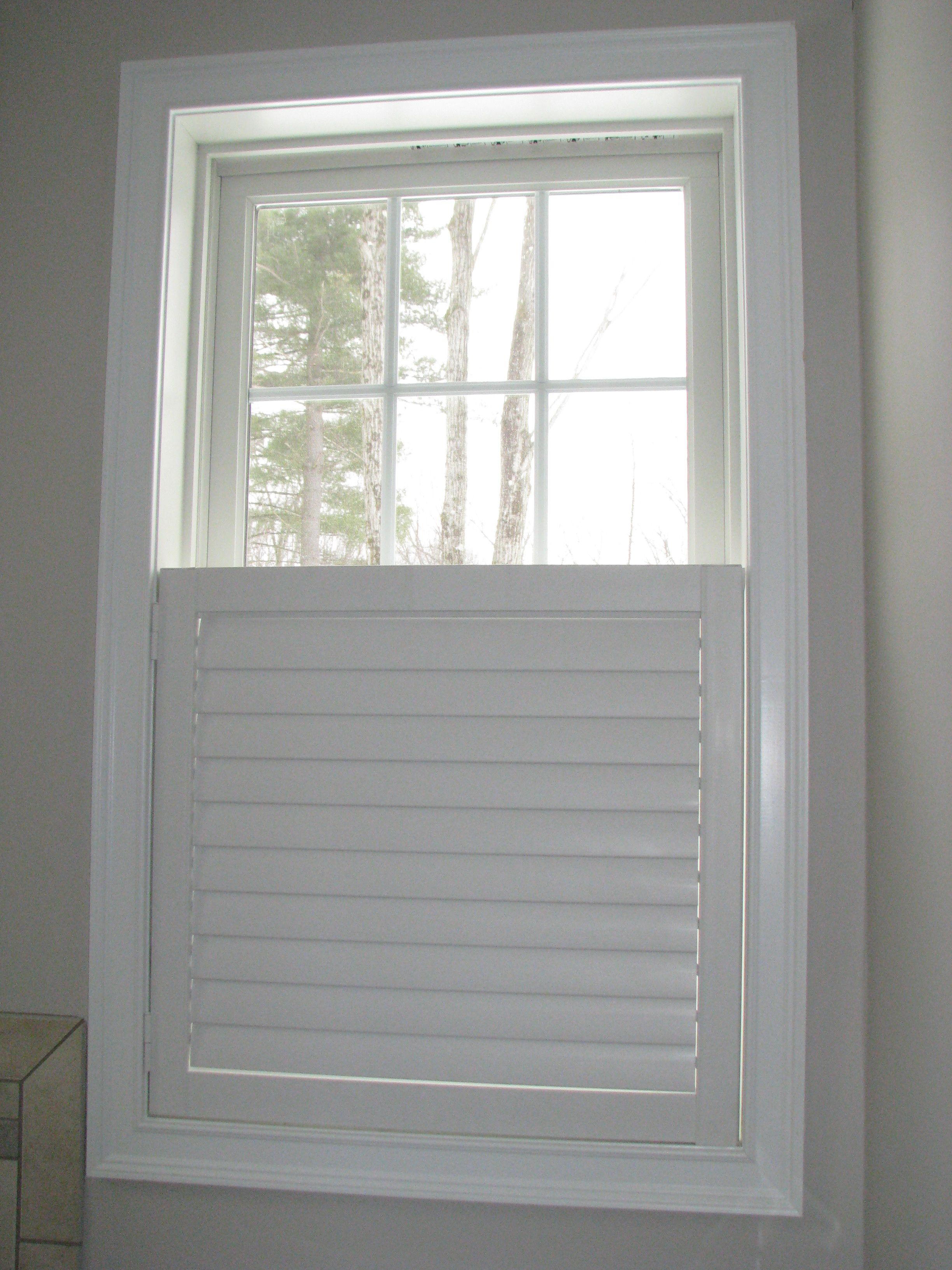 ... Beach Shutters In Café Style In A Bathroom Is The Perfect Solution  Allowing Privacy On The Bottom Half Of The Window. We Opted For A Single  Door Without ...