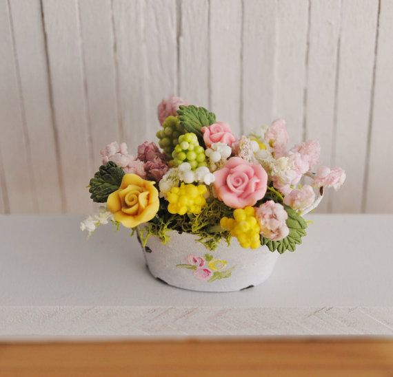 Miniature Shabby Chic Pink And Yellow Floral Arrangement  by LittleThingsByAnna