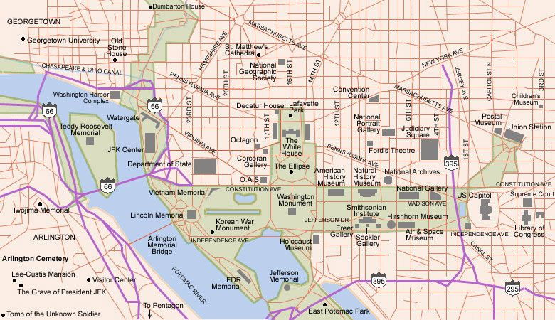 Map of Washington tourist sights and attractions from Tripomatic